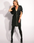 Full Circle Zip Front Silk Mini Dress.